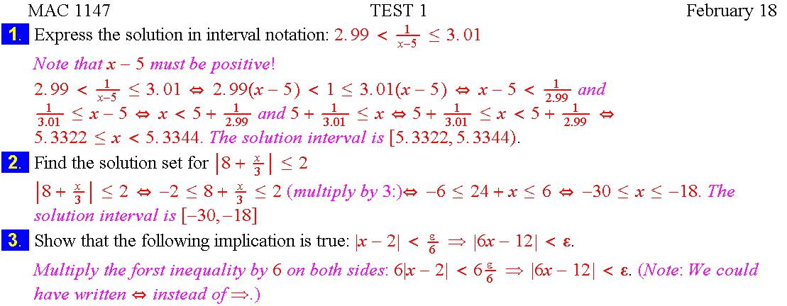 Precalculus Tests